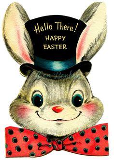 Vintage Welcome Signs Clip Art | Vintage Easter Bunny Clip Art 4x6 Digital Clip Art- use for ...