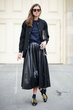 Bomber jacket & leather skirt