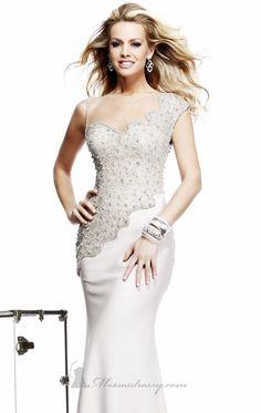 Beaded Bateau Neckline Crepe Gown by Tarik Ediz 92282 $423.99 Tarik Ediz
