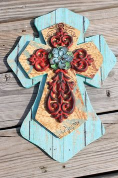 decorative Wooden Crosses  | Stacked Wood & Cast Iron Decorative Wall Cross Western Decor Christian ...