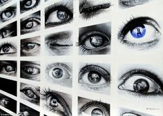 Veri Apriyatno -This artwork features many pictures of the artist's eyes as he tries to explore deeper into who he is