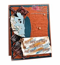 Ink Up: Feathers--Masculine birthday card using Spellbinders & Sizzix dies, Wordsworth stamps, and Inka Gold