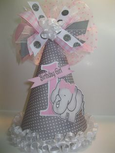 Personalized Gray & Pink Elephant  Birthday by DoodlesDotsnDimples, $13.25 Kristina