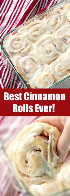 This recipe is hands down the Best Homemade Cinnamon Rolls Ever. The perfect soft, fluffy, gooey cinnamon rolls are right at your fingertips. This is the only recipe you'll ever need. #thestayathomechef #cinnamonrolls Best Cinnamon Rolls, Easy Homemade Cinnamon Rolls, Best Cinnamon Roll Recipe, Homemade Rolls, Cinnabon Cinnamon Rolls, Biscuit Cinnamon Rolls, Overnight Cinnamon Rolls, Icing For Cinnamon Rolls, Pioneer Woman Cinnamon Rolls