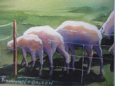 Sheep Over the Hill ACEO 86 collectable lamb  by watercolorsNmore, $4.00