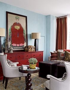 Gray and red living room light blue and red decor red dresser light blue wall and Living Room Red, Living Room Decor, Dining Room, Red Dresser, Red Hutch, Light Blue Walls, Red Home Decor, Blue Rooms, Home Office Design