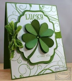 handmade paper to Saint Patrick … lucky four-leaf clover … like size … – TOP 15 St Patrick's Day Quotes Cricut Cards, Stampin Up Cards, St Patricks Day Cards, Good Luck Cards, Lucky To Have You, Cute Cards, Creative Cards, Greeting Cards Handmade, Scrapbook Cards