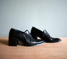 Vintage 90s JOAN and DAVID Black CHUNKY Heel Bootie Slip on shoe by heightofvintage