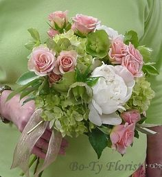 Wedding Flowers - Bridesmaid's Bouquet in shades of pink, green and white.