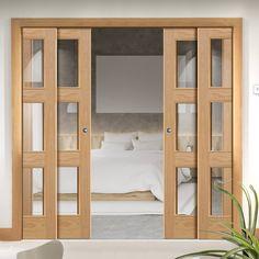 Quad Telescopic Pocket Brienz 3L Oak Veneer Doors - Clear Glass - Prefinished.    #moderndoors  #pocketdoors  #quadtelescopicdoors  #hiddendoors