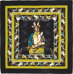"""Luxury Accessories:Accessories, Hermes Black & Green """"Pani la Shar Pawnee,"""" by KermitOliver Silk and Cashmere Scarf. Excellent to PristineConditio. Native American Beauty, Native American Jewelry, Native American Paintings, Hermes Paris, Southwest Style, Kermit, Cashmere Scarf, Scarf Patterns, Auction"""