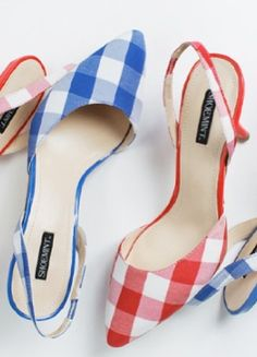 Gingham heels...with a little skirt,love love.