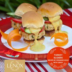 BOMBAY TURKEY SLIDERS For full recipe: http://lenoxusa.tumblr.com/post/54095124292/rozannegold-bombayturkeysliders   #Lenox #RozanneGold #July4 #Recipes #Entertaining   Simply Fine Lenox® Scarlet Chirp Dinner Plate