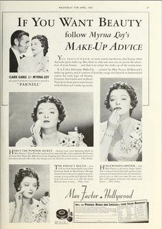Myrna Loy Max Factor ad