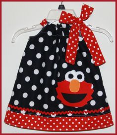 Elmo Dress Black and WhitePolka dot-elmo,dress,girl,applique,birthday,black white polka dot,pillow case style,baby,infant,toddler,custom,boutique,hand made