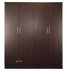 Buy Yukio 4 Door Wardrobe in Walnut Finish by Mintwud Online - 4 Door Wardrobes - Wardrobes - Furniture - Pepperfry Product 4 Door Wardrobe, Wardrobe Furniture, Walnut Finish, Types Of Wood, Wardrobes, Space Saving, Armoire, Tall Cabinet Storage, Drawers