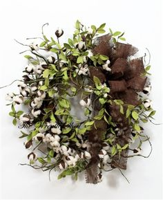 Farmhouse Cotton Wreath, Natural Cotton Bolls