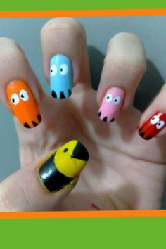 Pack men nail art