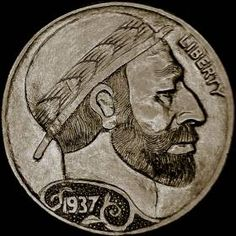 Steve Cox - Bearded Man Wearing Derby - Coin: 1937-P Ch F Hobo Nickel, Antique Coins, Jewelry Collection, Derby, Buffalo, Classic Style, Cactus, Auction, Carving