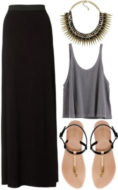 black maxi x grey tank ft. zara