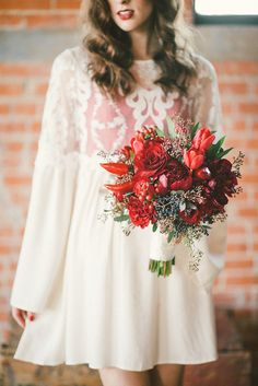 Peppers in bouquet. Red wedding inspiration. Photos by Stephanie Rose
