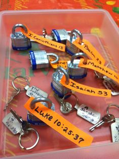 Bible Drill Key Passage Locks and Keys. Lock has reference and key has title. Must use the correct key to unlock. (Minute to win it style Family Worship night coming right up! This would be fun--Misty) cute idea! Youth Group Activities, Youth Games, Church Activities, Bible Activities, Kids Church Games, Youth Group Crafts, Youth Group Lessons, Church Camp, Fun Games