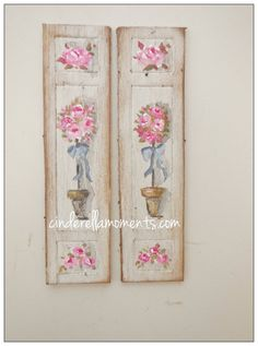 2 Handpainted Rose Topiary Panels Dollhouse by cinderellamoments, $22.00 sold