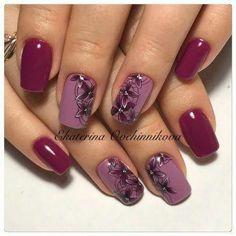 Simple Winter Nails Red Colors For Short Nails Art Designs - Designer Nägel - Burgundy Nails, Red Nails, Hair And Nails, Cute Acrylic Nails, Cute Nails, Pretty Nails, Autumn Nails, Winter Nails, Purple Nail Art