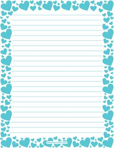 Printable blue heart stationery and writing paper. Multiple versions available with or without lines. Free PDF downloads at http://stationerytree.com/download/blue-heart-stationery/