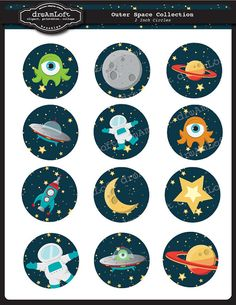 Outer Space 2 inch Round Printable Circles for stickers, cupcake toppers, cards, scrapbooking and all paper crafts on Etsy, $3.99