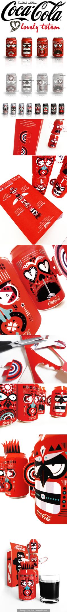 How fun is this limited edition Totem #Coca-Cola concept #packaging by Delphine Marie Grosset curated by Packaging Diva PD created via http://www.delphinemariegrosset.com/graphisme/totem-coca-cola