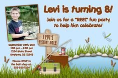 Fishing Pole Custom Photo Birthday Invitation by lemontreeparties, $15.00
