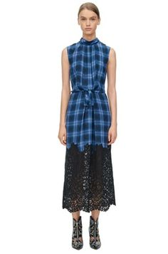 Plaid Dress with Lace - Violet Stone Combo