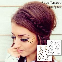 b51c8caee8074 Details about Gold Dots Temporary Face Tattoo Glitter Stickers Festival  Flash Tattoos Kit