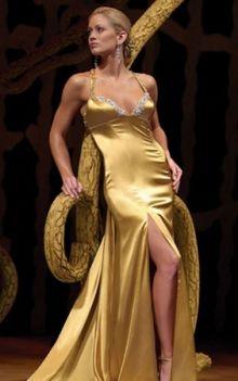 Gold Mermaid/Trumpet Straps Natural Long/Floor-length Sleeveless Split Front Elastic Silk-like Satin Backless Prom Dresses Dress