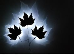 Leaft Wall Lamp, by Stephan Siepermann - An atmospheric wall lamp using casted plastic leaves mounted to the wall in a branch shape.  The light of the LED's are reflected onto the wall by the sharp edge of the leavees. Available with a different amount of leaves (1, 3, 5 or 9 leaves)