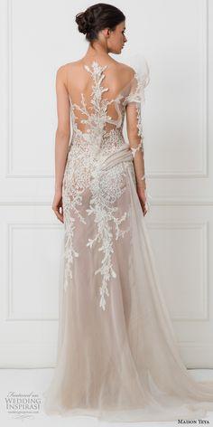 maison yeya 2017 bridal one side long sleeves heavily embroidered bodice elegant glamorous lace sheath wedding dress illusion lace back sweep train (3) bv