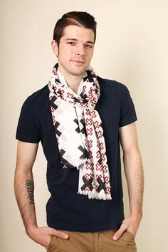 Anika Dali Men's Cross Pattern Rugged Natural Cotton Fashion Scarf / www.AnikaDali.com. Gift Ideas. Men's Scarves. Unique Holiday Gifts.