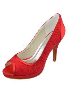 Dentelle rouge mariage sandales à talons hauts avec bout ouvert - Milanoo.com