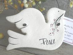 Peace Dove Baptism Gift Salt Dough Ornament / Easter / Christening / Christmas Ornament