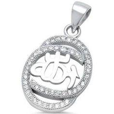 Sterling Silver CZ Allah Pendant Hamsa, Sterling Silver Bracelets, Allah, Pendants, Earrings, Ear Rings, Pendant, Allah Islam, Pierced Earrings
