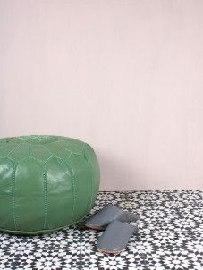 Sage Green Moroccan Leather Pouffe | Bohemia Bohemia Design, Moroccan Pouffe, Leather Ottoman, Home Accessories, Sage, Tiles, Bohemian, Interiors, Contemporary
