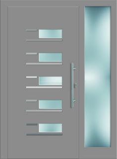Modell Arktus 2 Aluminium-Eingangstüre in grau mit Seitenteil - Aussenansicht! Erhätlich bei Fenster-Schmidinger aus Gramastetten in Oberösterreich! #doors #türen #alutüren