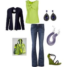 Lime & Navy  Love the color combo