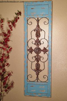 Rustic Iron Distressed Blue Garden Gate Wall Decor 36 Shabby