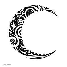maori tattoos in forearm Tribal Moon Tattoo, Moon Sun Tattoo, Tribal Tattoos, Moon Tattoos, Sun Moon, Bild Tattoos, Body Art Tattoos, Small Tattoos, Tatoos