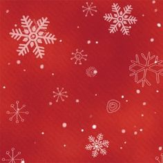 """Beautiful snowflakes are drifting across this bright red fabric. From Studio E's Chilly Silly Snowmates collection, for reference, the largest snowflake is approximately 1-1/4"""" in diameter."""