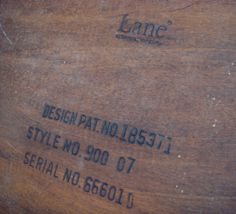 From the Lane website:  Usually Lane cedar chests have serial numbers that are stamped or applied to the bottom of the chests.  You can read the serial number BACKWARDS to determine the production date.  For example: serial number 753150 would have been produced on 05/13/57.