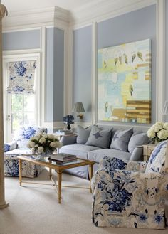 Love The Fabric On Chair And Shade Artwork Too Toby Fairley Blue Living Room Wallsblue White