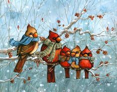 Cardinal Family|Cute IIllistrated Cardinals|Winter|Snow|Berries